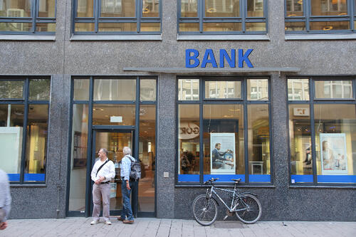 Looking into a bank branch